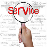 Service, word in Magnifying glass Royalty Free Stock Photos