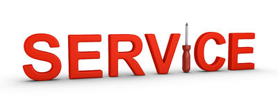 Service word and a screwdriver Royalty Free Stock Images
