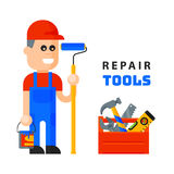 Service worker macter man character flat style isolated on white background and home repair tools icons working Stock Photos