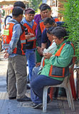 Service workers take a minute of rest Royalty Free Stock Image