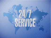 24-7 service world map sign concept Royalty Free Stock Photos