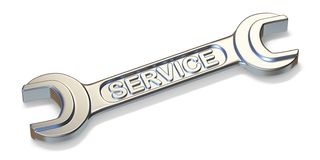 Service wrench tool 3D. Render illustration isolated on white background stock illustration