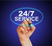 24/7 service. Writing word 24/7 service with marker on gradient background made in 2d software Royalty Free Stock Images