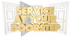 Service at Your Doorstep Open Doors Words Stock Photo