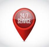 24-7 Service-Zeigerzeichen-Konzeptillustration Lizenzfreies Stockbild