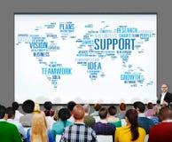 Serviceidén planerar globalt begrepp för visionaffärstillväxt Royaltyfria Foton