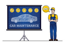 Serviceman with car maintenance chart board vector illustration Stock Image