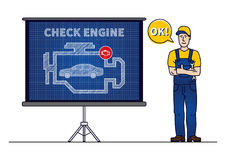 Serviceman with check engine chart board vector illustration. Mechanic and check engine warning sign blue print graphic design. Motor control symbol creative Royalty Free Stock Photography