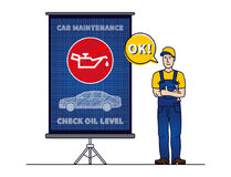 Serviceman with check motor oil level chart board vector illustration. Mechanic and engine oil level sign blue print graphic design. Oil pressure control Stock Images