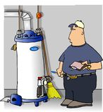 Serviceman checking a water heater Royalty Free Stock Photos