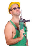 Serviceman with hand drill Royalty Free Stock Photos