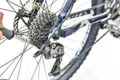 Serviceman hand repair bicycle whee with screwdriver Stock Image