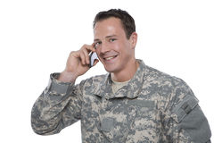 Serviceman on the Phone Stock Image