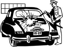 Serviceman Washing Car Royalty Free Stock Images