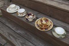 Services à thé de style de vintage Photo libre de droits