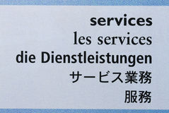 Services. With five language translation royalty free stock photos