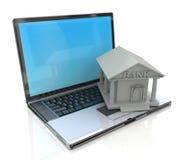 Services bancaires en ligne, opérations bancaires d'e, ordinateur portable avec l'icône de la banque 3d Photos libres de droits