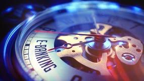 Services bancaires en ligne - texte sur la montre de vintage 3d Image libre de droits