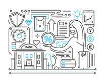 Services bancaires - ligne composition en conception illustration de vecteur