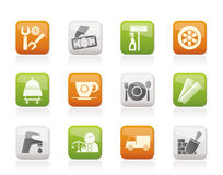 Services and business icons. Vector icon set Royalty Free Stock Photos