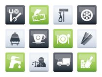 Services and business icons over color background. Vector icon set stock illustration
