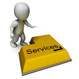 Services Button Shows Assistance Or Maintenance Stock Photo