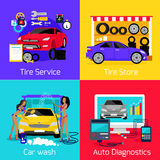 Services Car Washing Diagnostics Tire Stock Photography