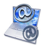 Services Computer Internet Marketing. A metal email alias symbol or at sign coming out of a computer screen with a circuit background Stock Images