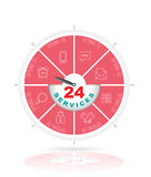 24 services concept. Circle step with icons. 24 services concept Royalty Free Stock Images