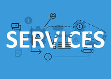 Services concept flat line design with icons and elements. Modern services concept s collection. Services concept lettering Stock Photos