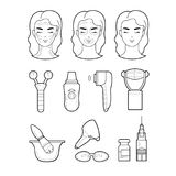 Services cosmetology set icons illustration lines Stock Photos