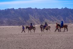 Services d'équitation de touristes au bâti Bromo image stock