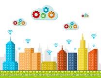 Services de calcul de nuage Concept futé de ville Photo stock
