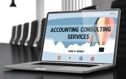 Services de conseil de comptabilité sur l'ordinateur portable dans le lieu de réunion 3d Photo libre de droits