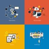 Services de foronline d'icônes, développement de Web, analyse et salaire par Images stock