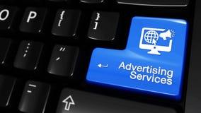 84 Services de la publicité déplaçant le mouvement sur le bouton de clavier d'ordinateur illustration libre de droits