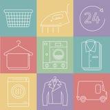 Services de nettoyage à sec Ligne icônes Vecteur illustration de vecteur