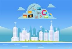 Services de nuage Ville futée Internet de concept de choses Images libres de droits