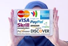 Services de paiement et logos et vecteur en ligne supérieurs de systèmes Photo libre de droits