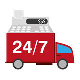 24 services de transport de 7 camions Photographie stock libre de droits