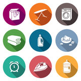 Services Dry Cleaning Icons Set. Vector Illustration. Royalty Free Stock Photos