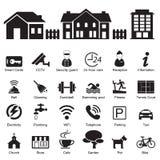 Services et icône d'hôtel de village et à la maison d'équipements illustration libre de droits