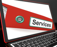 Services File On Laptop Shows Services Records Royalty Free Stock Photography