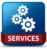 Services (gears icon) blue square button red ribbon in middle Royalty Free Stock Photos