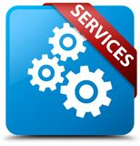 Services (gears icon) cyan blue square button red ribbon in corn Stock Photography