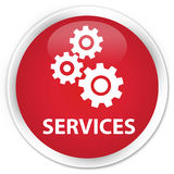 Services (gears icon) premium red round button Royalty Free Stock Image