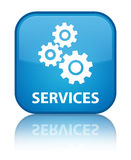 Services (gears icon) special cyan blue square button Royalty Free Stock Photo