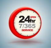 Services 24hr mit Uhr lizenzfreie abbildung