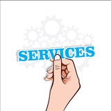 Services text label in hand Stock Photo
