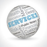 Services vector theme sphere with keywords Royalty Free Stock Images
